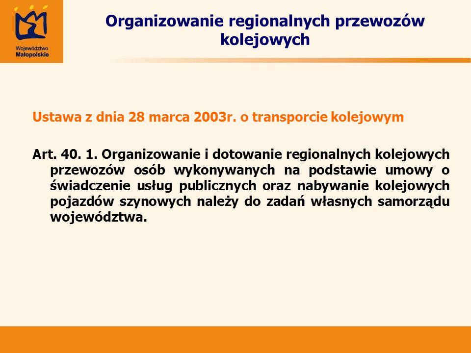 Organizowanie regionalnych przewozów kolejowych