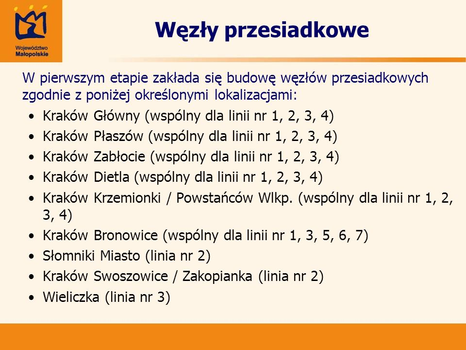 Węzły przesiadkowe Kraków Główny (wspólny dla linii nr 1, 2, 3, 4)