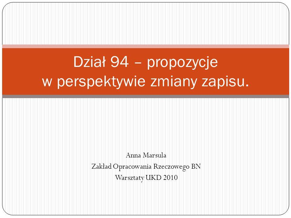 Dział 94 – propozycje w perspektywie zmiany zapisu.