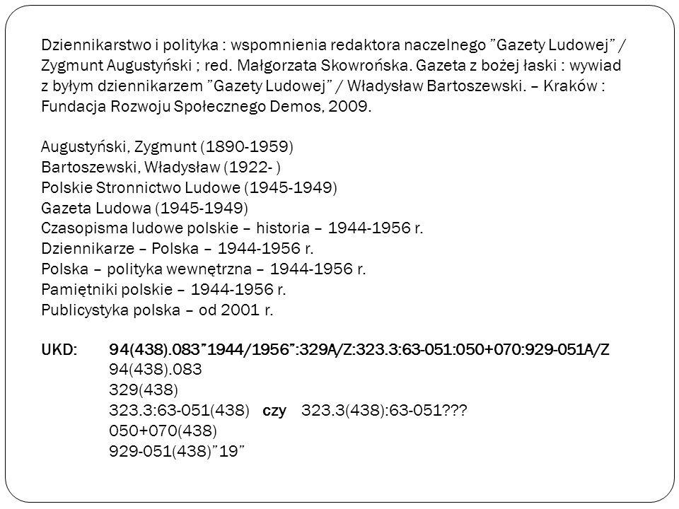 Dziennikarstwo i polityka : wspomnienia redaktora naczelnego Gazety Ludowej / Zygmunt Augustyński ; red.