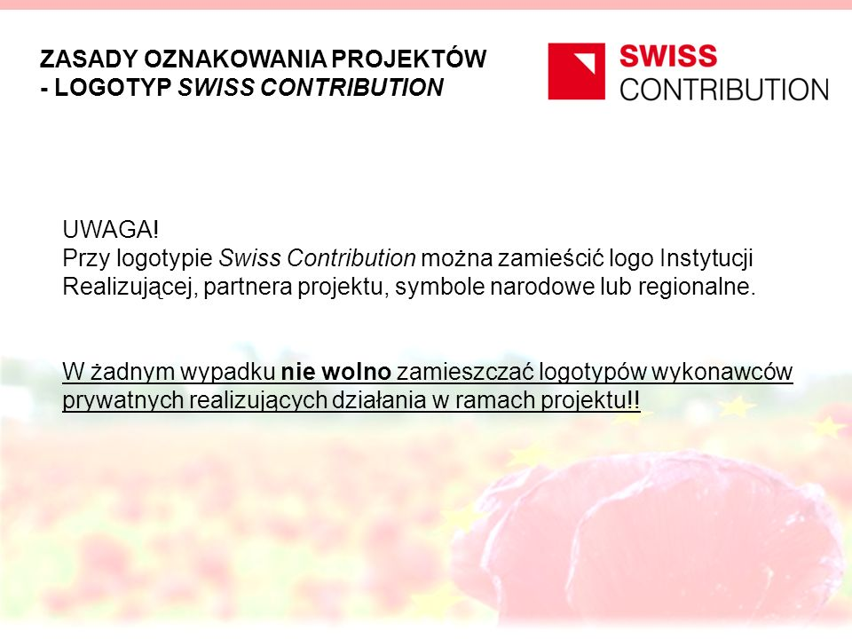 ZASADY OZNAKOWANIA PROJEKTÓW - LOGOTYP SWISS CONTRIBUTION