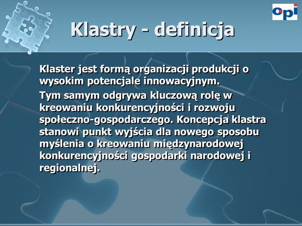 Klastry - definicja Klaster jest formą organizacji produkcji o wysokim potencjale innowacyjnym.