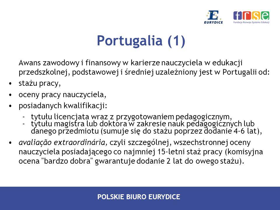 Portugalia (1) Awans zawodowy i finansowy w karierze nauczyciela w edukacji przedszkolnej, podstawowej i średniej uzależniony jest w Portugalii od: