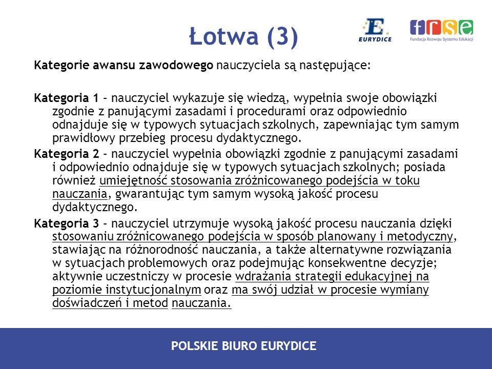 Łotwa (3) Kategorie awansu zawodowego nauczyciela są następujące: