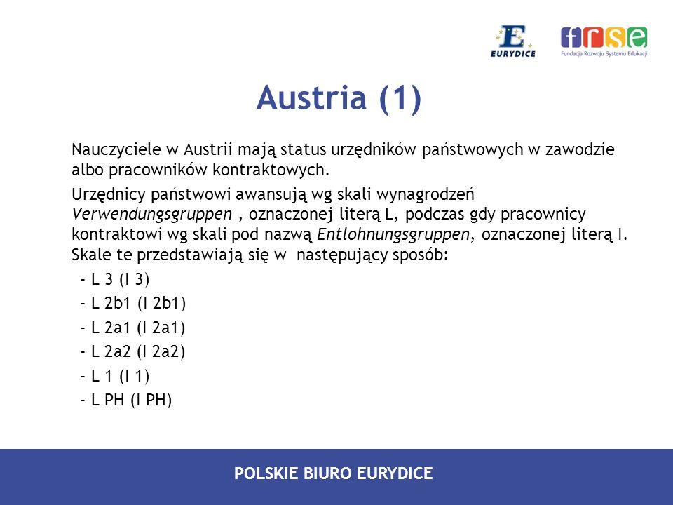 Austria (1) Nauczyciele w Austrii mają status urzędników państwowych w zawodzie albo pracowników kontraktowych.
