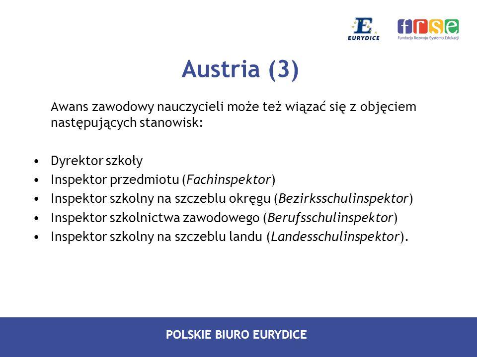 Austria (3) Awans zawodowy nauczycieli może też wiązać się z objęciem następujących stanowisk: Dyrektor szkoły.