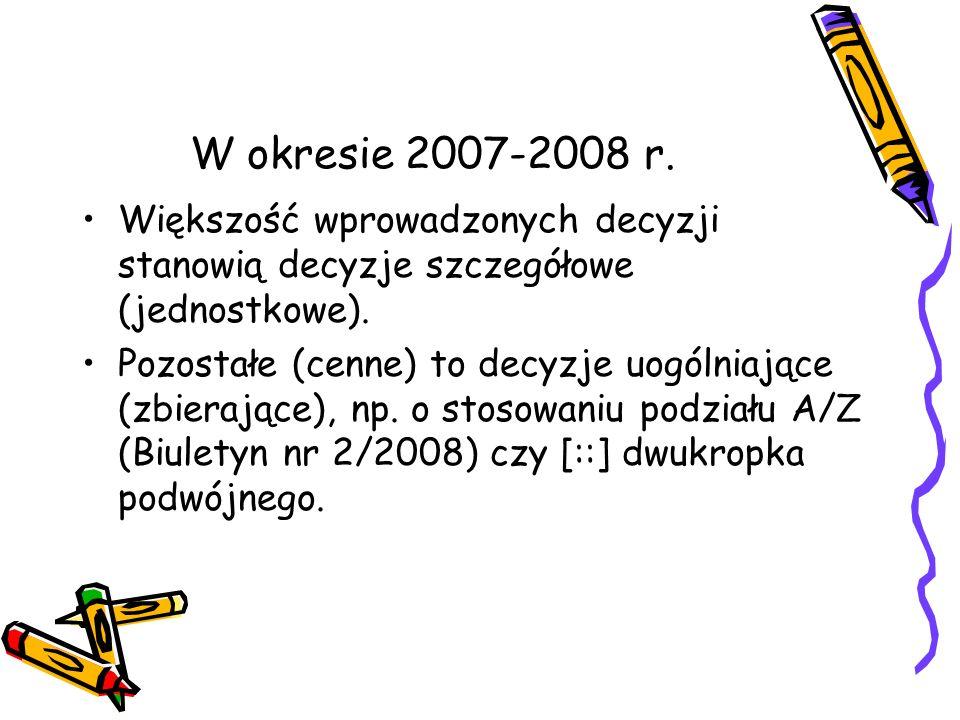 W okresie 2007-2008 r. Większość wprowadzonych decyzji stanowią decyzje szczegółowe (jednostkowe).