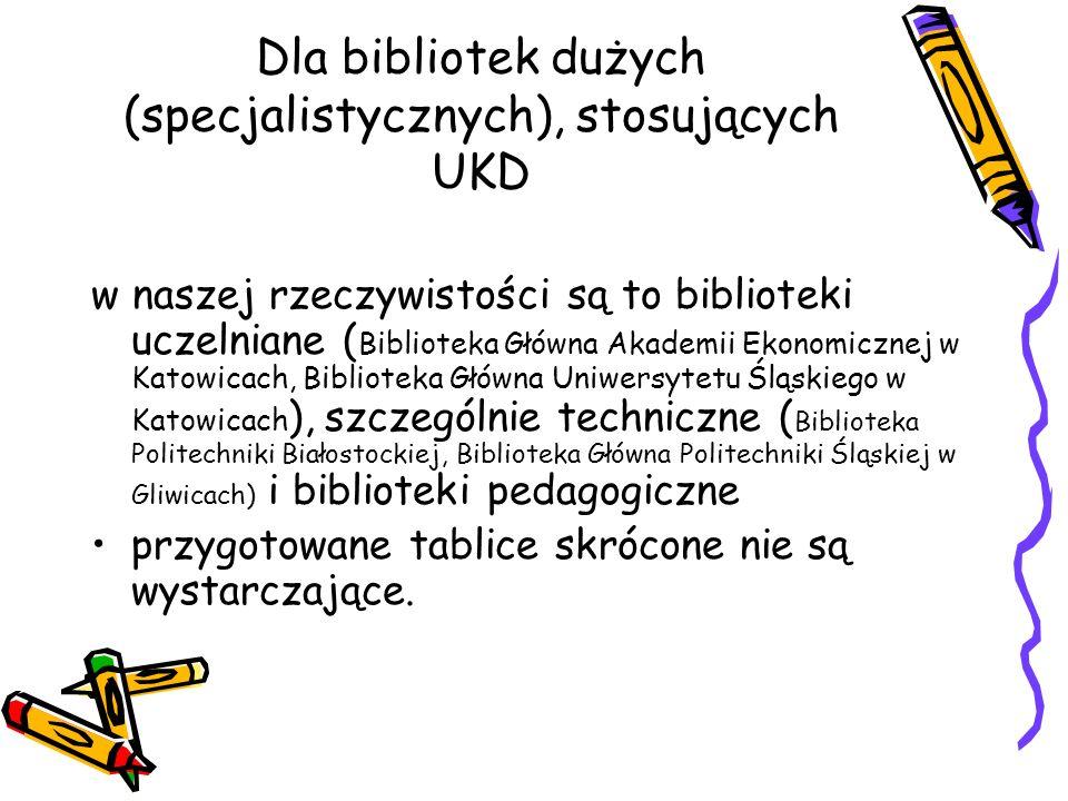 Dla bibliotek dużych (specjalistycznych), stosujących UKD