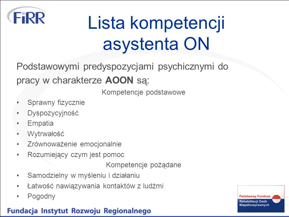 Lista kompetencji asystenta ON