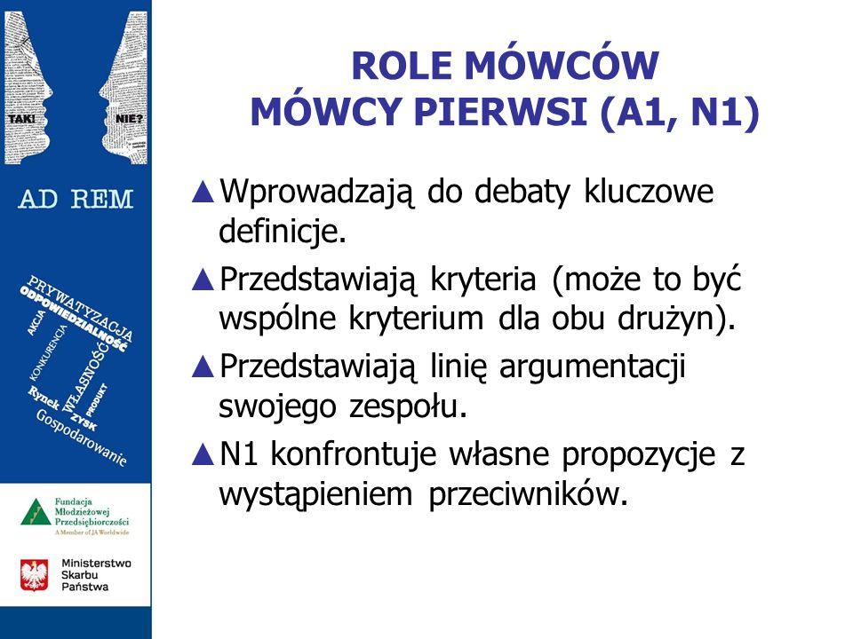 ROLE MÓWCÓW MÓWCY PIERWSI (A1, N1)