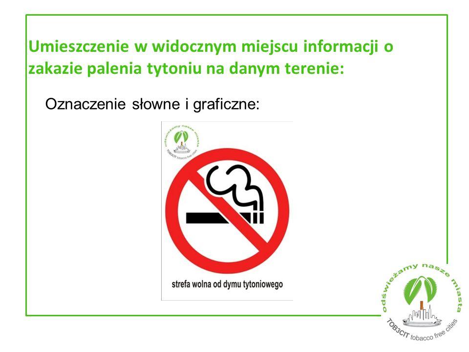 Umieszczenie w widocznym miejscu informacji o zakazie palenia tytoniu na danym terenie:
