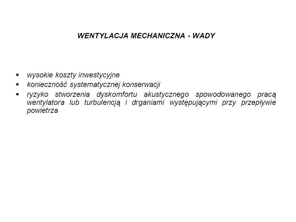 WENTYLACJA MECHANICZNA - WADY