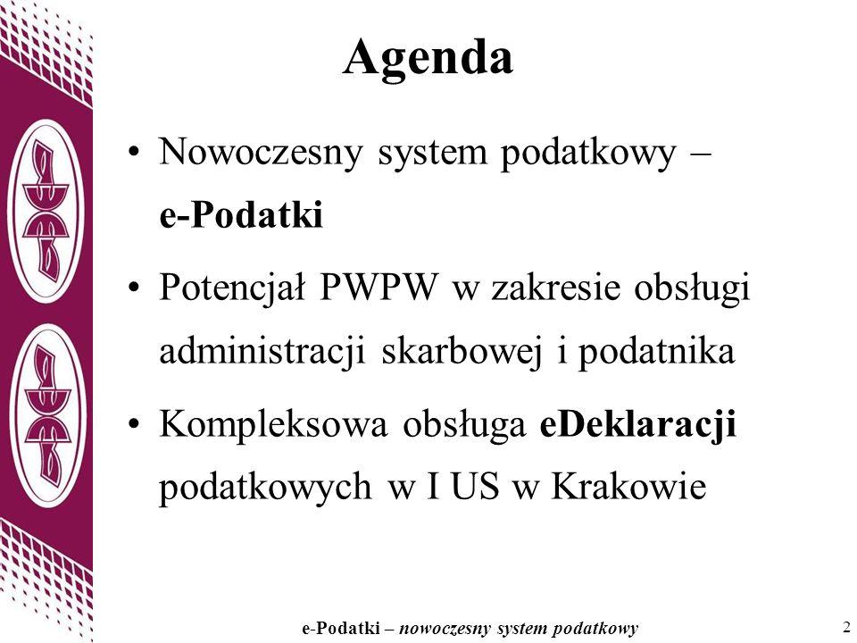 Agenda Nowoczesny system podatkowy – e-Podatki