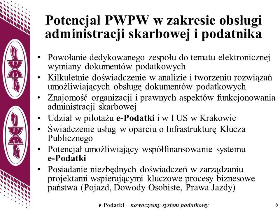 Potencjał PWPW w zakresie obsługi administracji skarbowej i podatnika