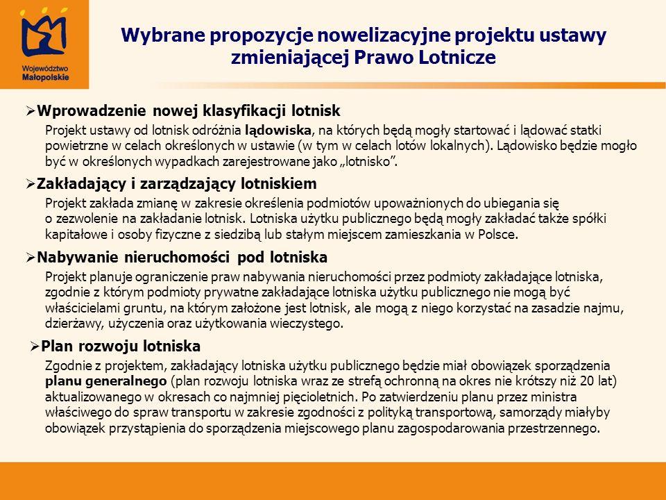 Wybrane propozycje nowelizacyjne projektu ustawy zmieniającej Prawo Lotnicze