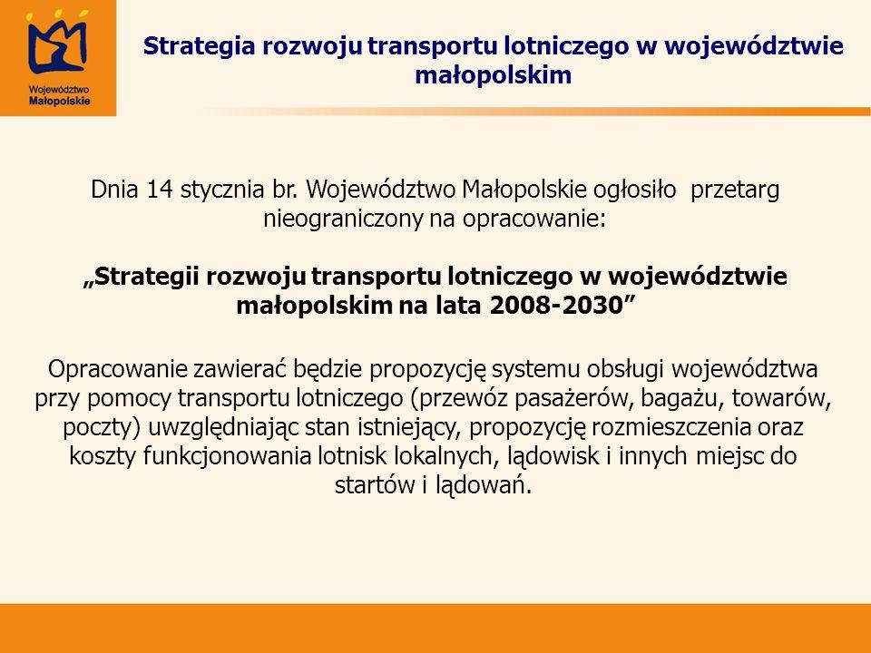 Strategia rozwoju transportu lotniczego w województwie małopolskim