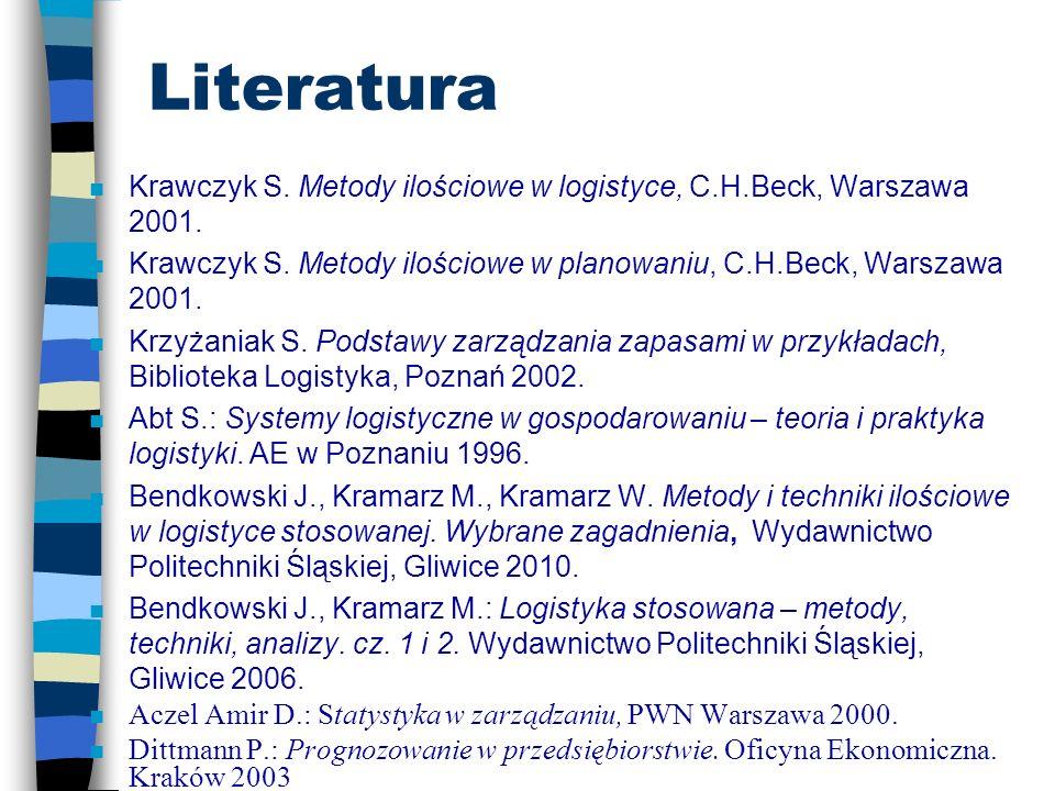 Literatura Krawczyk S. Metody ilościowe w logistyce, C.H.Beck, Warszawa 2001. Krawczyk S. Metody ilościowe w planowaniu, C.H.Beck, Warszawa 2001.