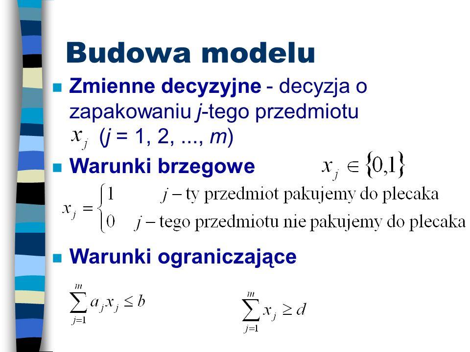 Budowa modelu Zmienne decyzyjne - decyzja o zapakowaniu j-tego przedmiotu (j = 1, 2, ..., m) Warunki brzegowe.