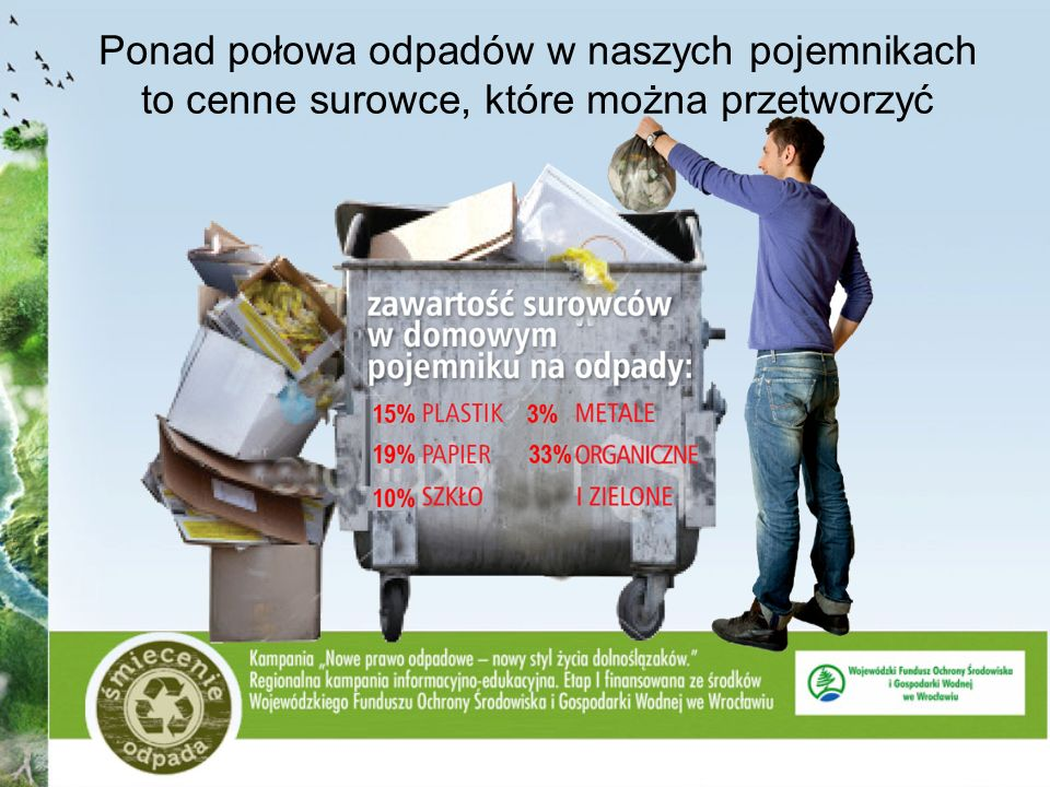 Ponad połowa odpadów w naszych pojemnikach to cenne surowce, które można przetworzyć