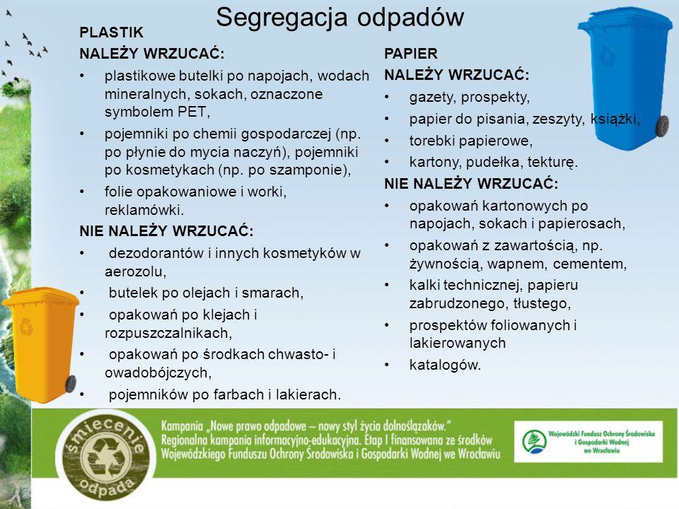 Segregacja odpadów PLASTIK NALEŻY WRZUCAĆ: