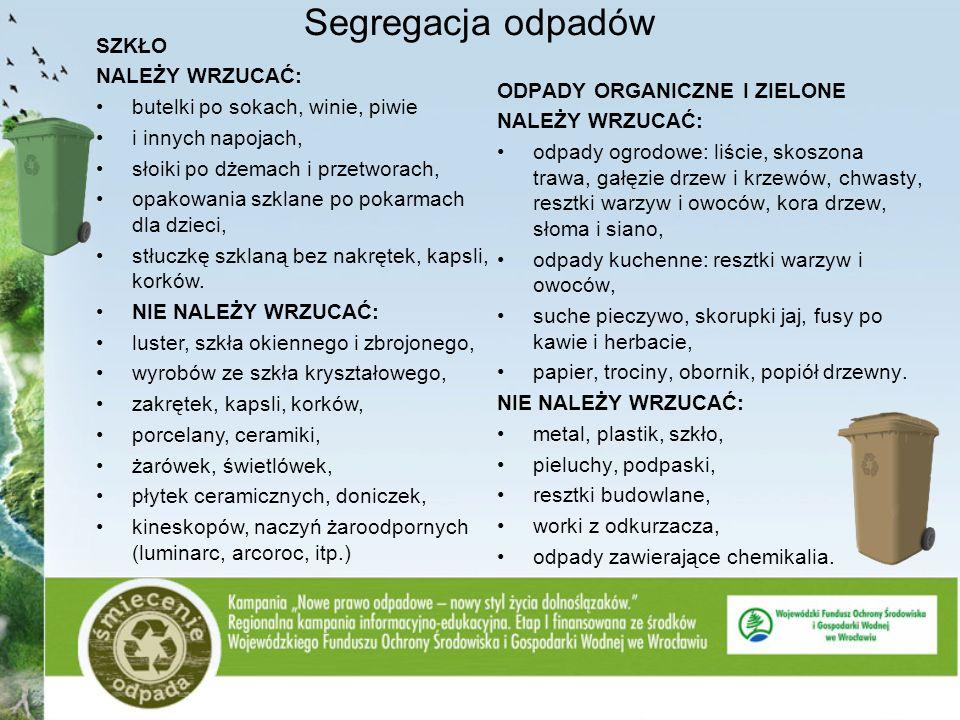 Segregacja odpadów SZKŁO NALEŻY WRZUCAĆ: