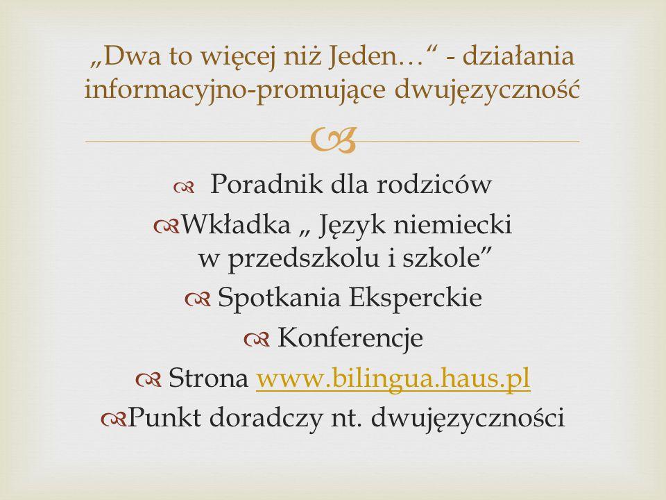 """Wkładka """" Język niemiecki w przedszkolu i szkole Spotkania Eksperckie"""