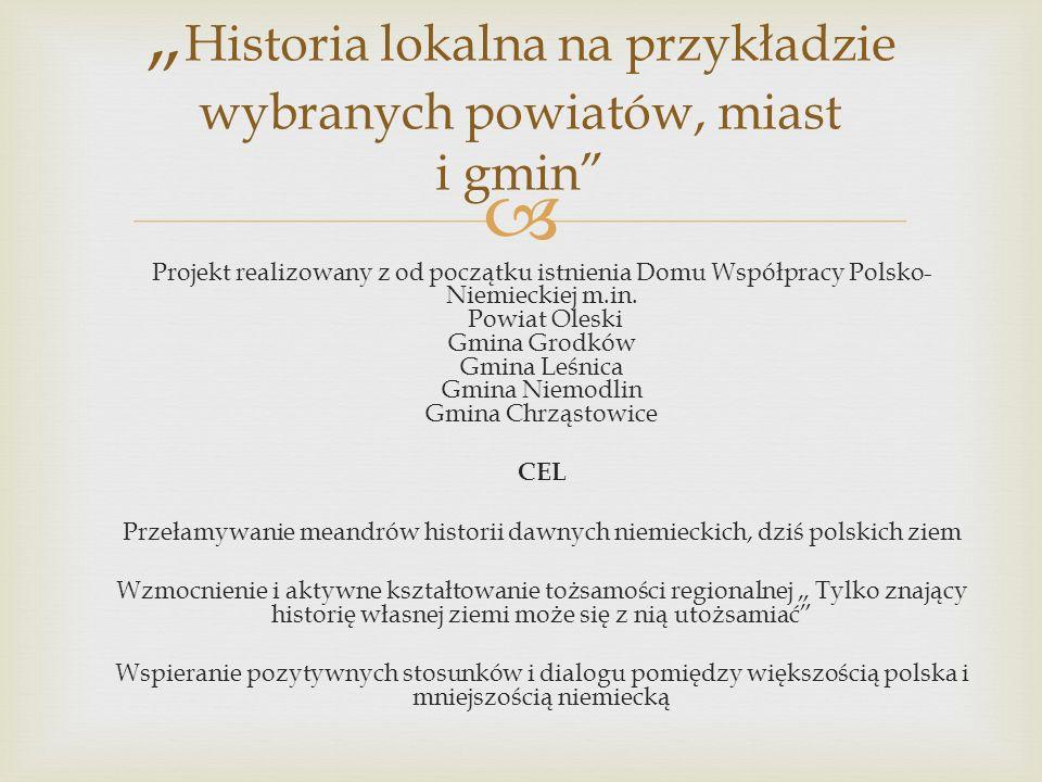 """""""Historia lokalna na przykładzie wybranych powiatów, miast i gmin"""