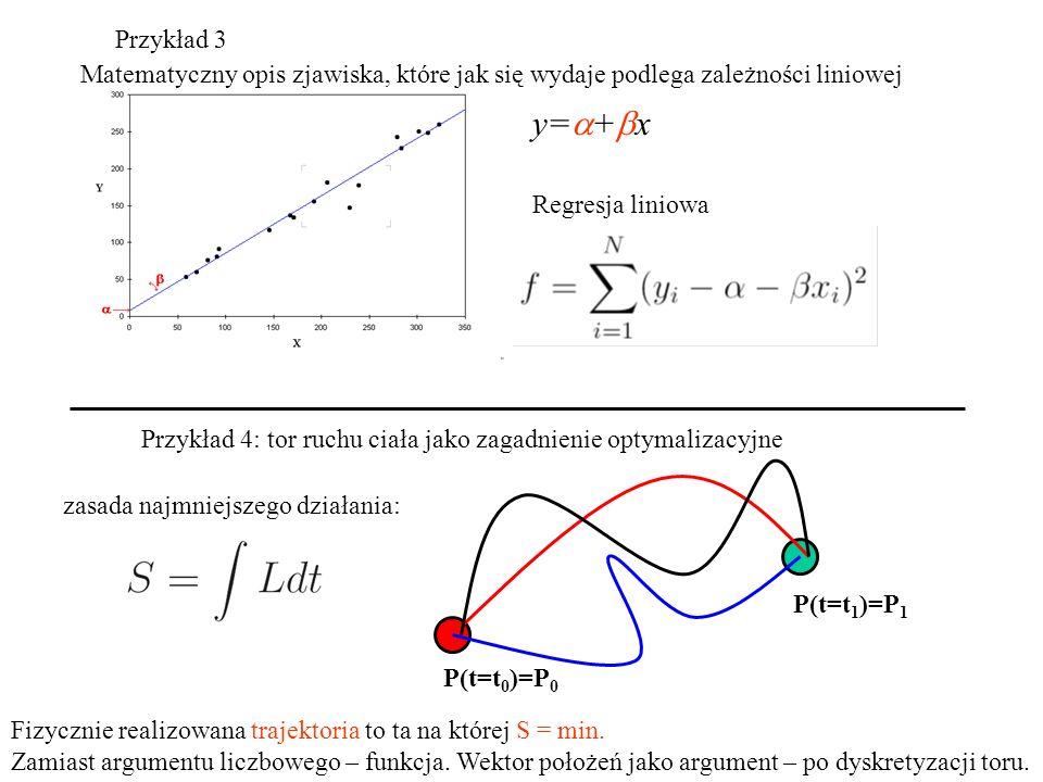 Przykład 3 Matematyczny opis zjawiska, które jak się wydaje podlega zależności liniowej. y=a+bx. Regresja liniowa.