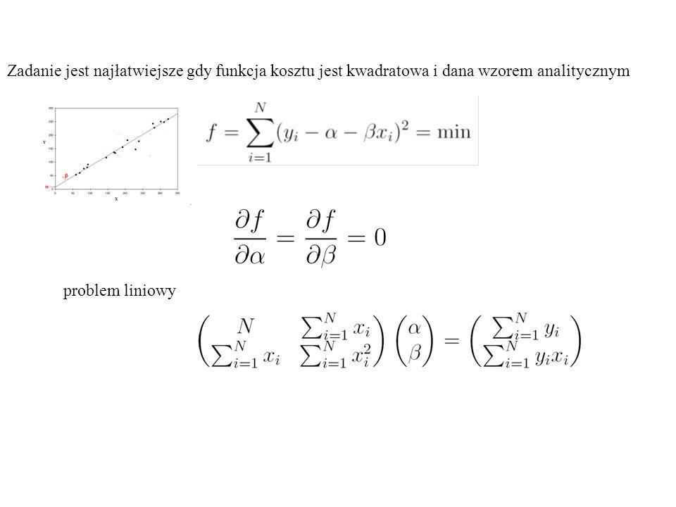 Zadanie jest najłatwiejsze gdy funkcja kosztu jest kwadratowa i dana wzorem analitycznym