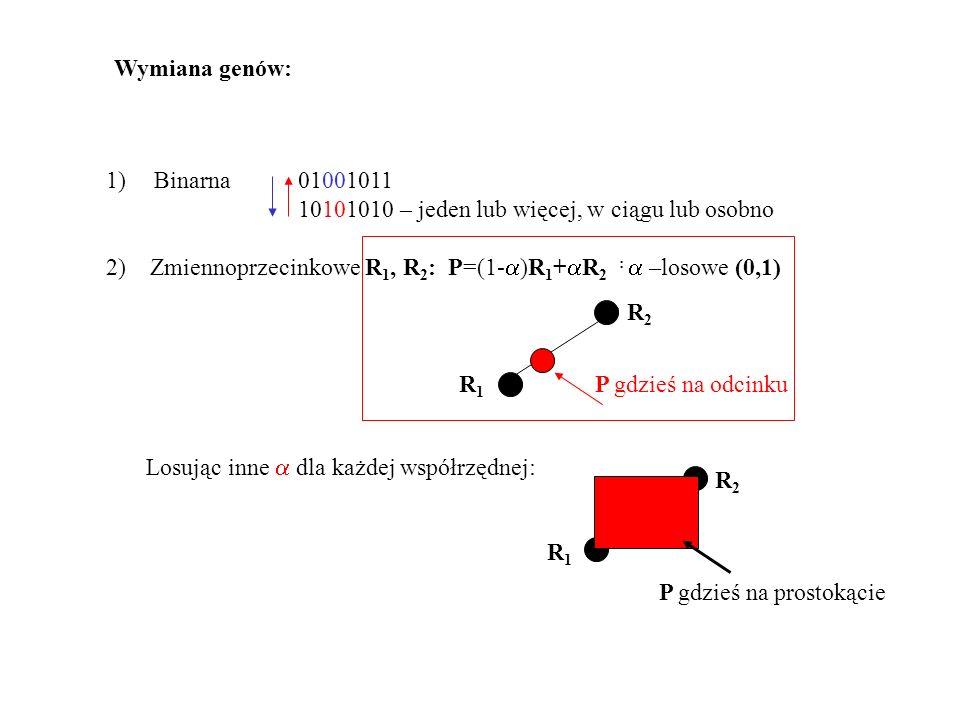 Wymiana genów: Binarna 01001011. 10101010 – jeden lub więcej, w ciągu lub osobno.