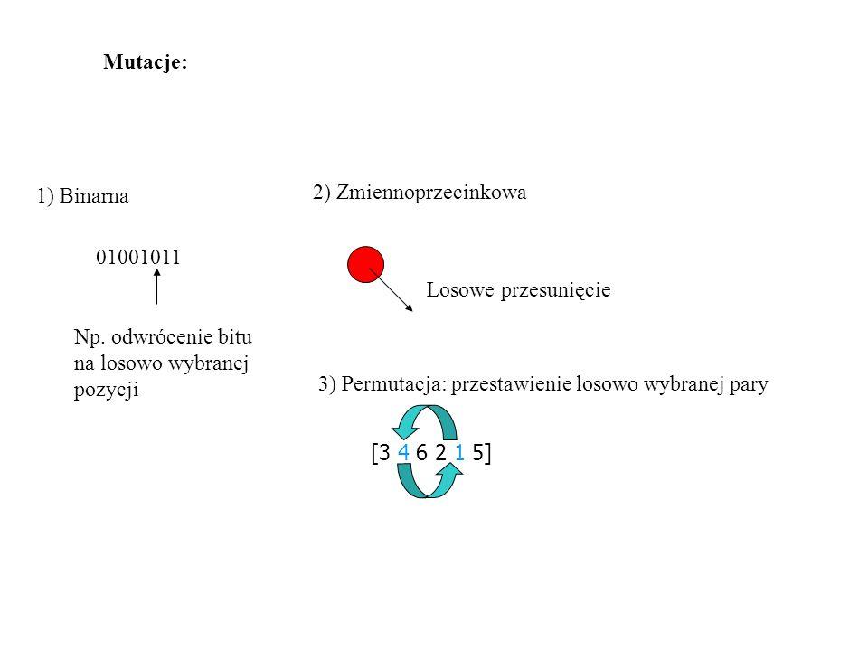 Mutacje: 1) Binarna. 2) Zmiennoprzecinkowa. 01001011. Losowe przesunięcie. Np. odwrócenie bitu na losowo wybranej pozycji.