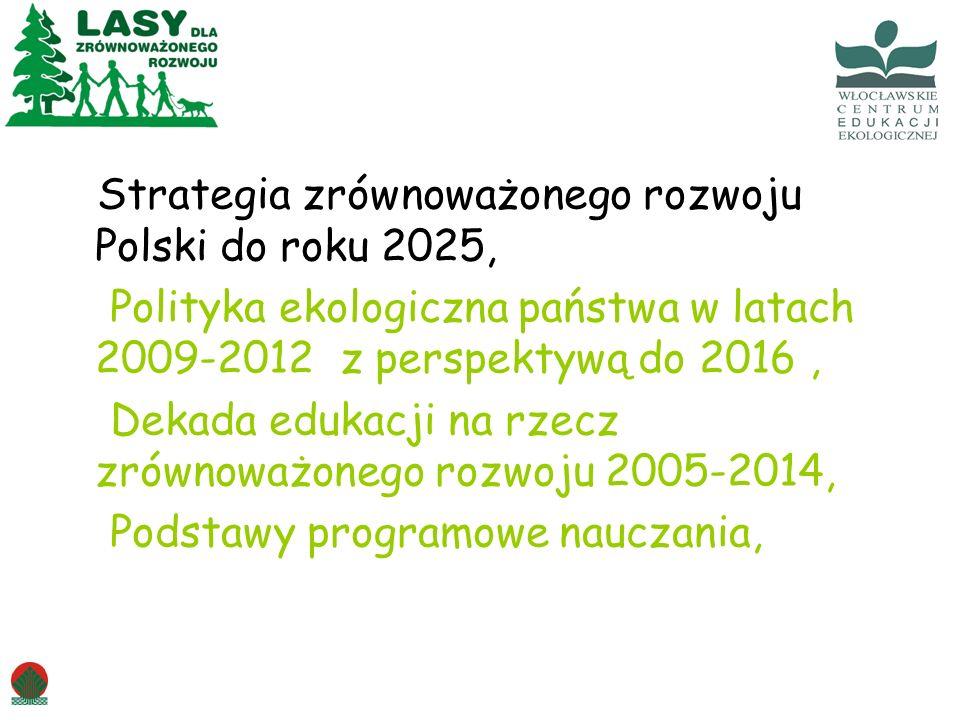 Strategia zrównoważonego rozwoju Polski do roku 2025, Polityka ekologiczna państwa w latach 2009-2012 z perspektywą do 2016 , Dekada edukacji na rzecz zrównoważonego rozwoju 2005-2014, Podstawy programowe nauczania,