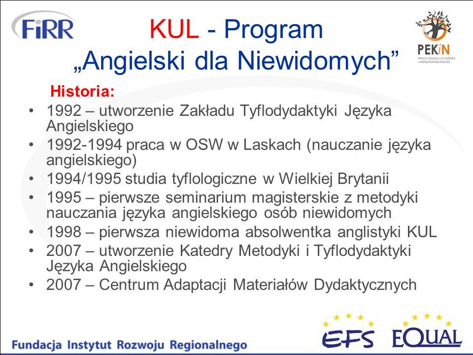 """KUL - Program """"Angielski dla Niewidomych"""