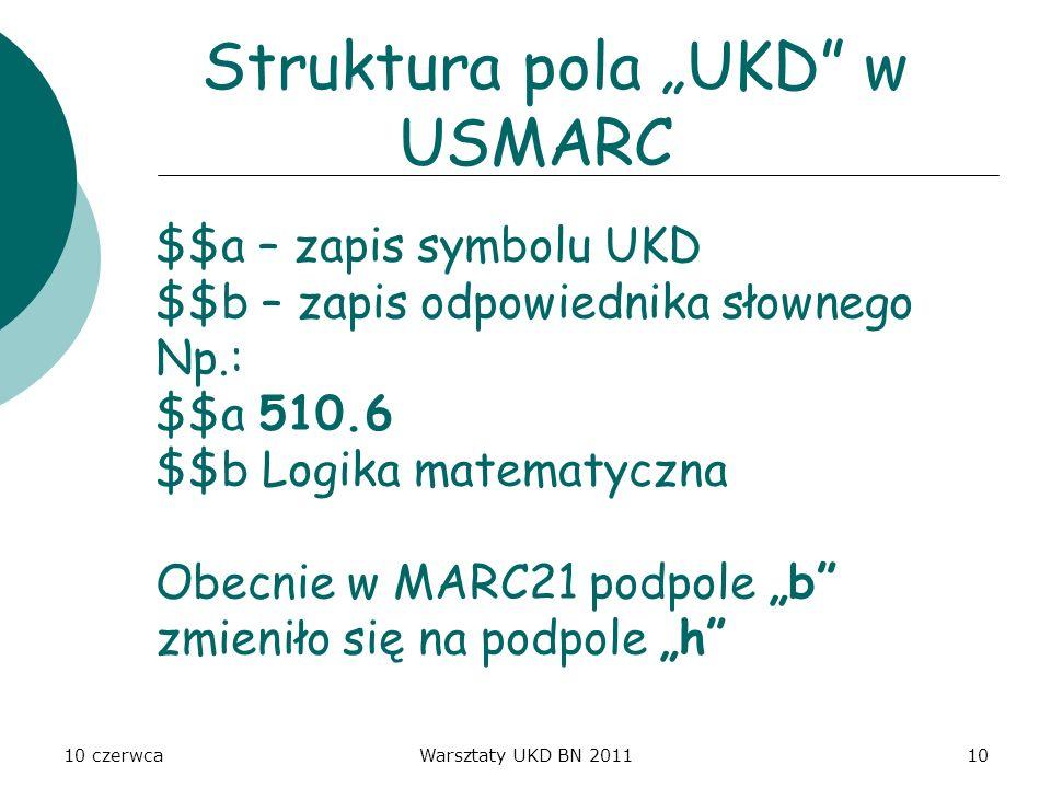 """Struktura pola """"UKD w USMARC"""