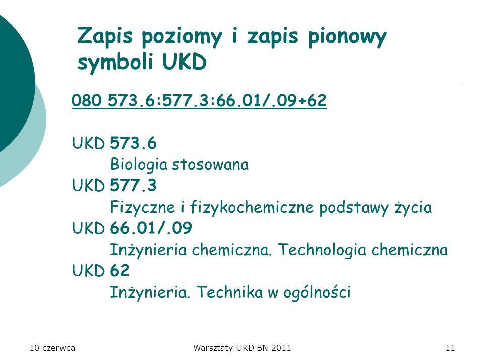 Zapis poziomy i zapis pionowy symboli UKD