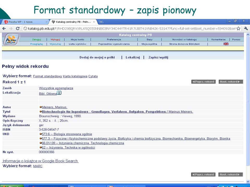 Format standardowy – zapis pionowy