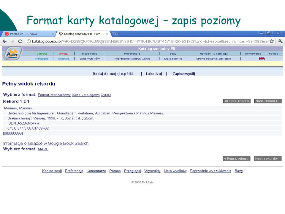 Format karty katalogowej – zapis poziomy