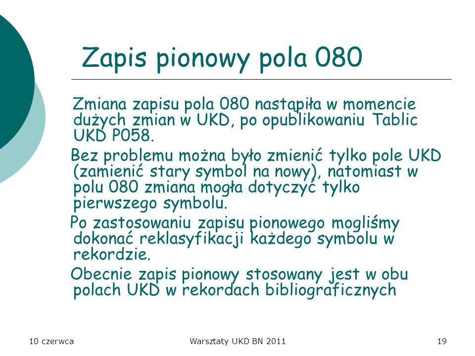 Zapis pionowy pola 080 Zmiana zapisu pola 080 nastąpiła w momencie dużych zmian w UKD, po opublikowaniu Tablic UKD P058.