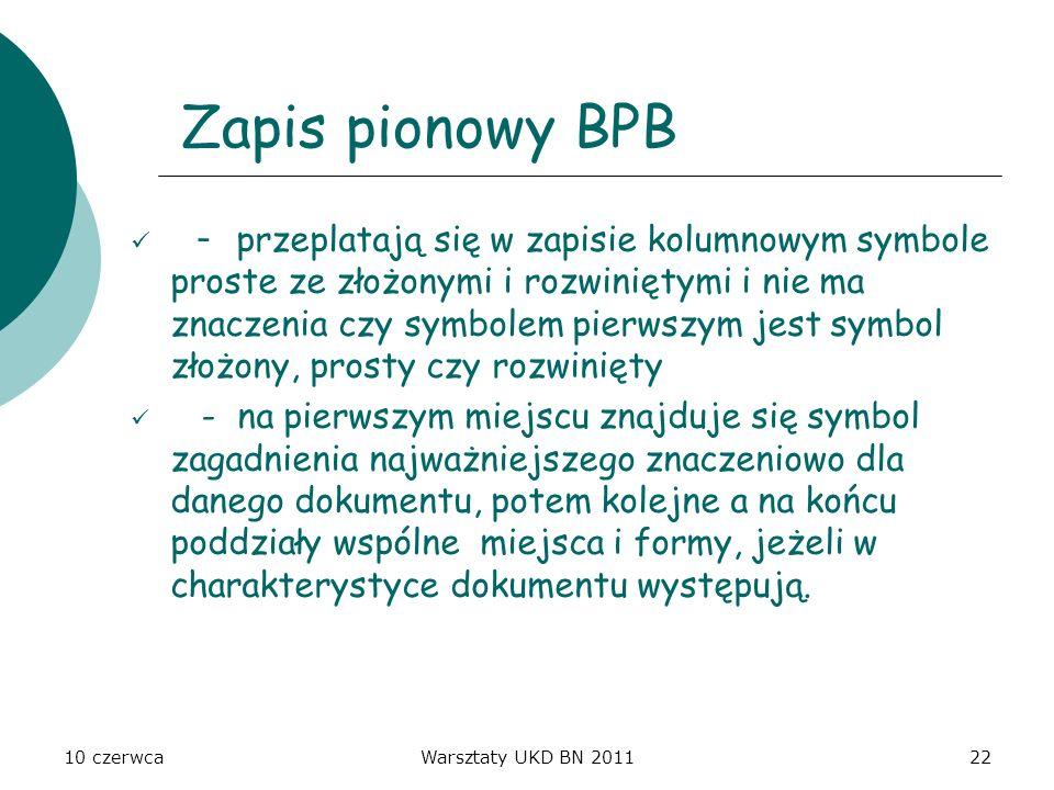 Zapis pionowy BPB