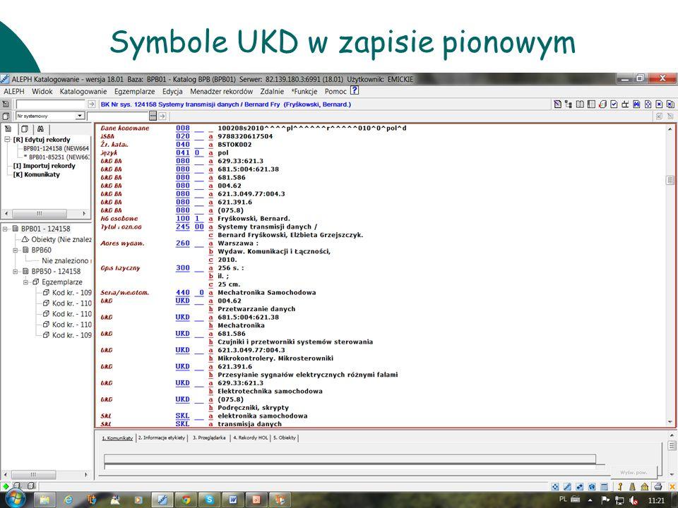 Symbole UKD w zapisie pionowym