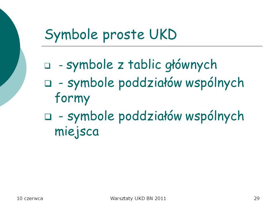 Symbole proste UKD - symbole poddziałów wspólnych formy