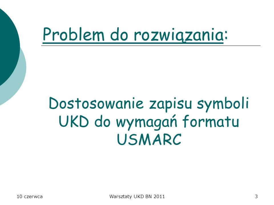 Dostosowanie zapisu symboli UKD do wymagań formatu USMARC