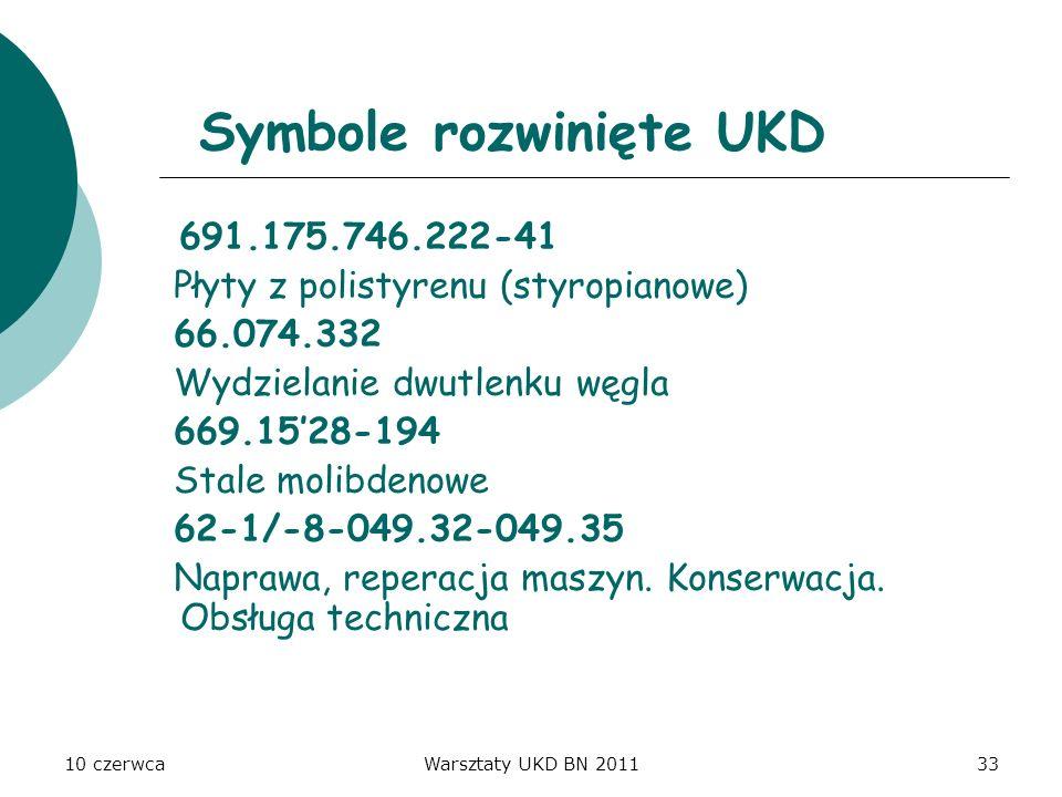 Symbole rozwinięte UKD