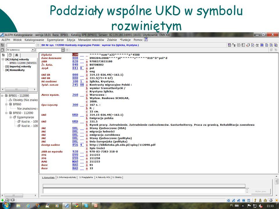 Poddziały wspólne UKD w symbolu rozwiniętym
