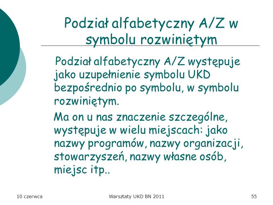 Podział alfabetyczny A/Z w symbolu rozwiniętym