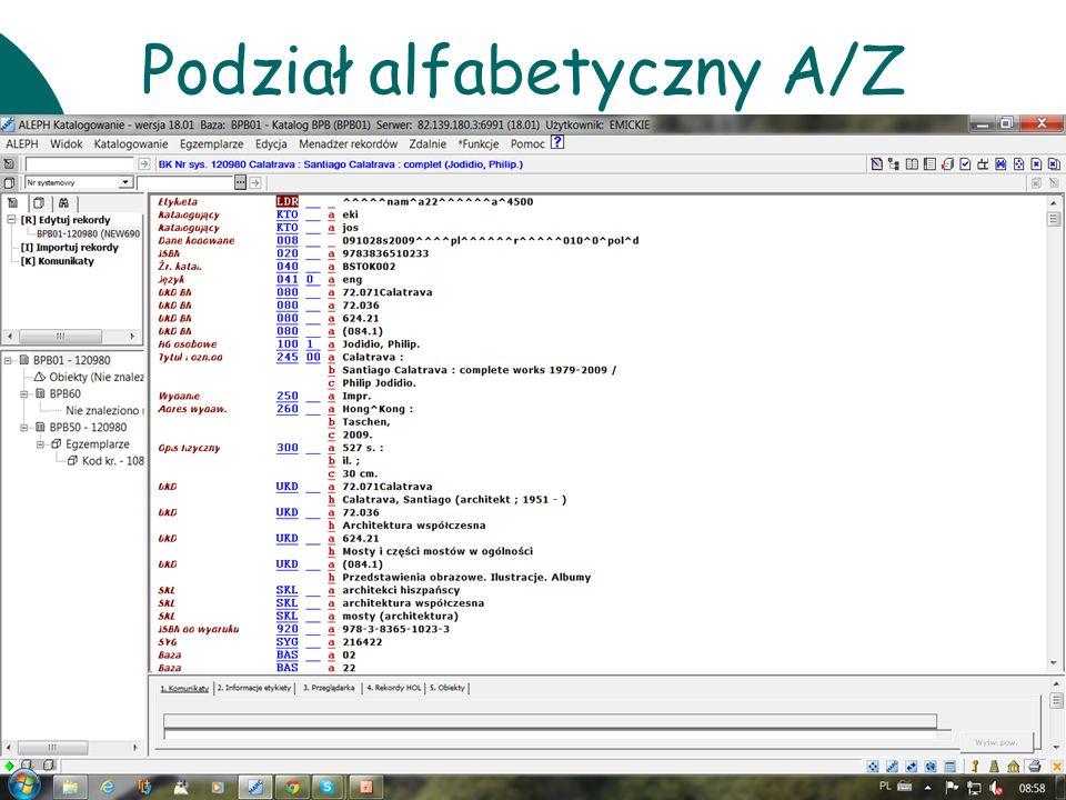 Podział alfabetyczny A/Z