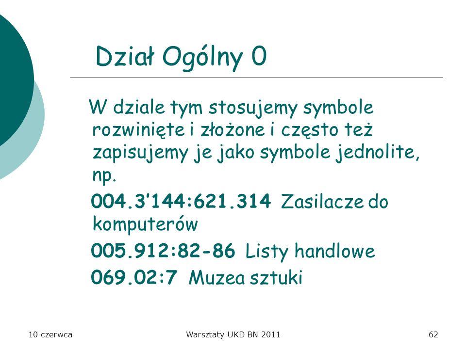 Dział Ogólny 0 W dziale tym stosujemy symbole rozwinięte i złożone i często też zapisujemy je jako symbole jednolite, np.