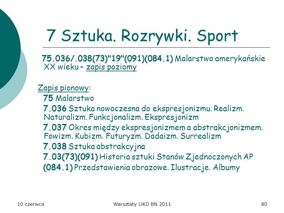 7 Sztuka. Rozrywki. Sport 75.036/.038(73) 19 (091)(084.1) Malarstwo amerykańskie XX wieku – zapis poziomy.