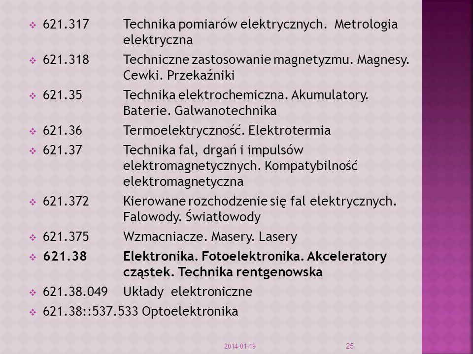 621.317 Technika pomiarów elektrycznych. Metrologia elektryczna