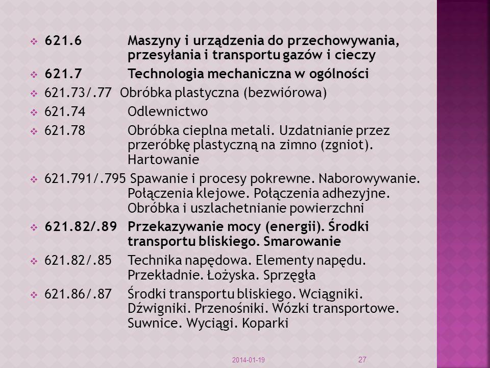 621.7 Technologia mechaniczna w ogólności